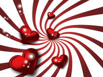 Red valentines and white stripes royalty free stock images