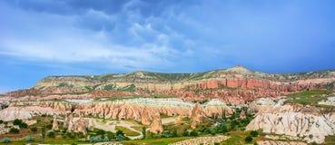 Red valley at Cappadocia, Anatolia, Turkey. Volcanic mountains i Stock Image