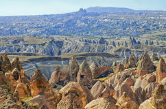 Red valley and rocks    in Cappadocia Stock Photography