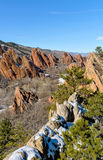 Red Valley - Vertical. A vertical overview of a winter red sandstone valley in Roxborough State Park, Denver, Colorado, USA Stock Images