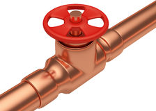 Red valve on copper pipe diagonal view Stock Images