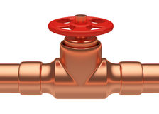 Red valve on copper pipe Royalty Free Stock Photo