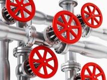 Red valve on metal pipe Stock Photos