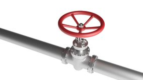 Red valve and metallic pipeline isolated on white background. 3D illustration. Stock Photos