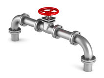 Red valve and metallic pipeline on white background Stock Images