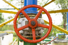 Red Valve on the pipeline Stock Photos