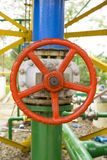 Red Valve on the pipeline Royalty Free Stock Photography