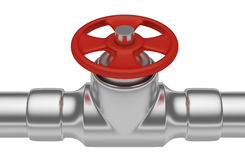 Red valve on steel pipe closeup Stock Images