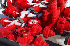 Red valves Stock Photography