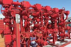 Red valves Royalty Free Stock Images