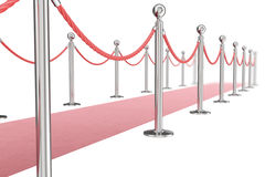Red valvet carpet isolated on white background with silver stanchiond nad two rope barriers. 3d rendering Royalty Free Stock Photo