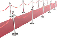 Red valvet carpet isolated on white background with silver stanchiond nad two rope barriers. 3d rendering Stock Photography