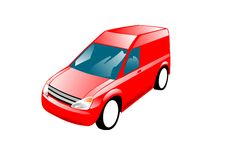 Red Van. An illustration of a small red van Royalty Free Stock Photo