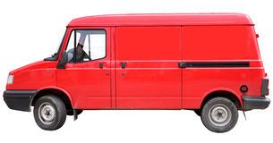 A red van. A red van, isolated on a white background Royalty Free Stock Image
