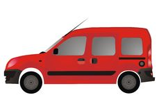 Red van autovehicle (car). Red van autovehicle for transportation Vector Illustration