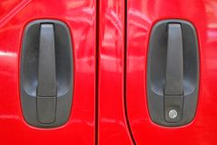 Red Van Doors Stock Photo