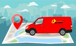 Red van over folded flat map and red pin. Cityscape background. Vector illustration. Red van over folded flat map and red pin. Cityscape background. Flat color royalty free illustration