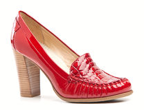 Red varnish female shoes Royalty Free Stock Image