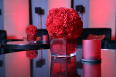 Red vase. Whith red Carnation Stock Image
