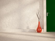 Red vase near the door Royalty Free Stock Photography