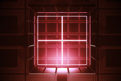 Red vault, digital security. Abstract red vault. Digital security concept. 3D Rendering stock illustration