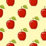 Red vector apples seamless background. Pattern with organic fruits illustration Stock Illustration