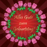 Red vector background with roses and rays - Alles gute zum Gebur Royalty Free Stock Photos