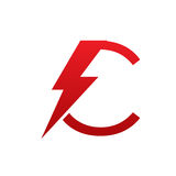 Red Vector Bolt Electric Letter C Logo vector illustration