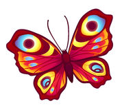 Red vector butterfly. (Inachis Io) with open wings Royalty Free Stock Photo