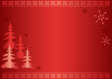 Red vector card with firs Royalty Free Stock Images