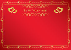 Red vector card with golden frame Royalty Free Stock Image