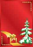 Red vector card with new year tree Stock Photography