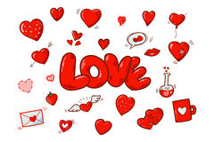 Red vector cartoon hearts Stock Images