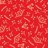 Red vector Christmas pattern with yellow branches stock illustration