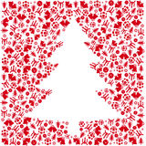 Red Vector Christmas tree Stock Images