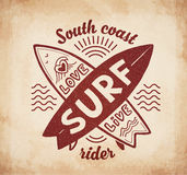 Red vector crossing surfing boards stamp with hand drawn sign Love, Live, SURF on vintage background Royalty Free Stock Images