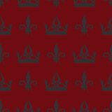 Red vector crowns and fleur de lis seamless pattern Royalty Free Stock Photography