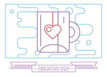 Red vector cup icon. Tea, drink, dinner and food Royalty Free Stock Photography