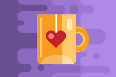 Red vector cup icon. Tea, drink, dinner and food Royalty Free Stock Photo