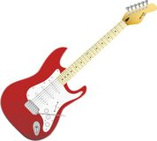 Red vector electro guitar. Music in your life. Royalty Free Stock Images