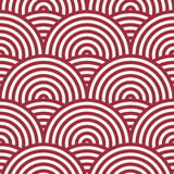 Red vector endless pattern created with thin undulate stripes Stock Photography