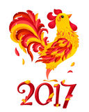 Red vector fiery rooster in cartoon style - symbol of Chinese New Year. Red vector fiery rooster in cartoon style with 2017 number - symbol of Chinese New Year Royalty Free Stock Images