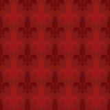 Red vector fleur de lis seamless pattern Stock Image