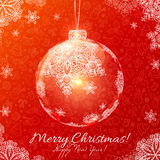 Red vector glass Christmas balls with snowflakes Stock Photo