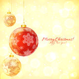 Red vector glass Christmas balls with snowflakes Royalty Free Stock Images