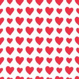 Red vector hand-drawn hearts seamless pattern stock illustration