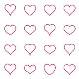 Red vector heart icons thin line collection stock illustration