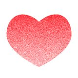 Red vector heart made of many small circles. Graphite texture. The gradient from top to bottom royalty free illustration