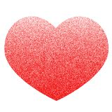 Red vector heart made of many small circles. Graphite texture. The gradient from the bottom up Royalty Free Stock Image