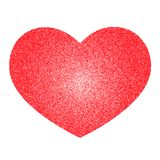 Red vector heart made of many small circles. Graphite texture. Gradient circular Stock Photos